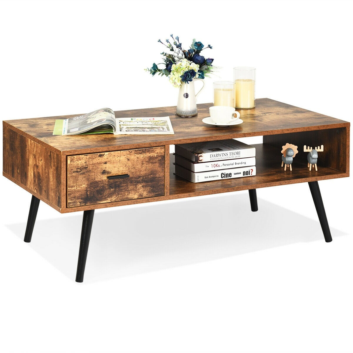 Gymax Retro Coffee Table Mid Century Modern Living Room Furniture See Details Overstock 31825655