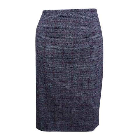 Tahari ASL Women's Plaid Straight Skirt (8, Grey/Black/Red) - Grey/Black/Red - 8