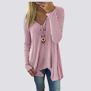 Link to Henley Pullover Knitted Sweater Similar Items in Women's Sweaters