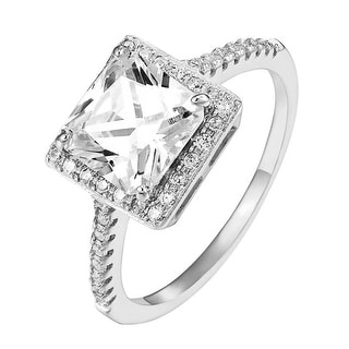 Sterling Silver Princess Cut Halo Ring Cubic Zironia Engagement Promise Elegant