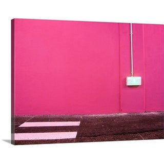 Premium Thick-Wrap Canvas entitled Wall painted in pink, level 0 of the parking lot of the Beaulieu shopping mall