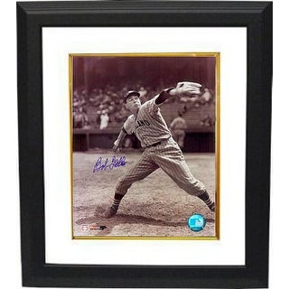 Bob Feller signed Cleveland Indians 8x10 Vintage Sepia Photo Custom Framed (Pitching)