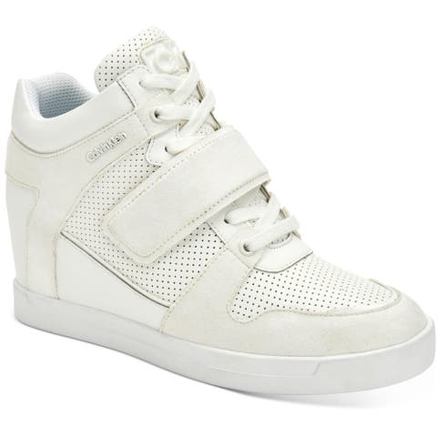 Calvin Klein Womens Frances Fashion Sneakers Leather Lace Up - White
