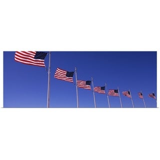 Poster Print entitled Low angle view of American flags, Washington Monument, Washington DC - Multi-color