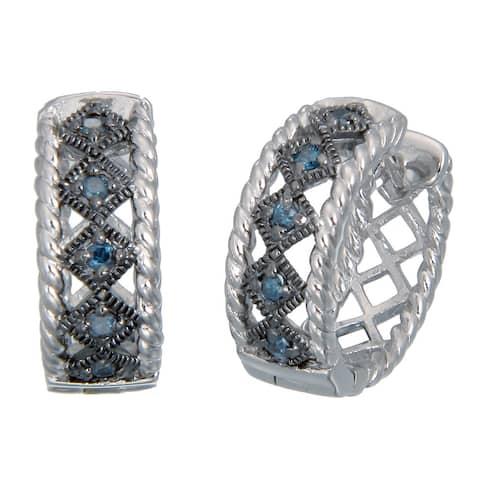 1/3 cttw Blue Diamond Hoop Earrings in .925 Sterling Silver with Rhodium Plating