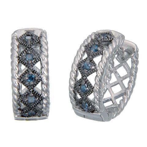 1/4 cttw Blue Diamond Hoop Earrings .925 Sterling Silver