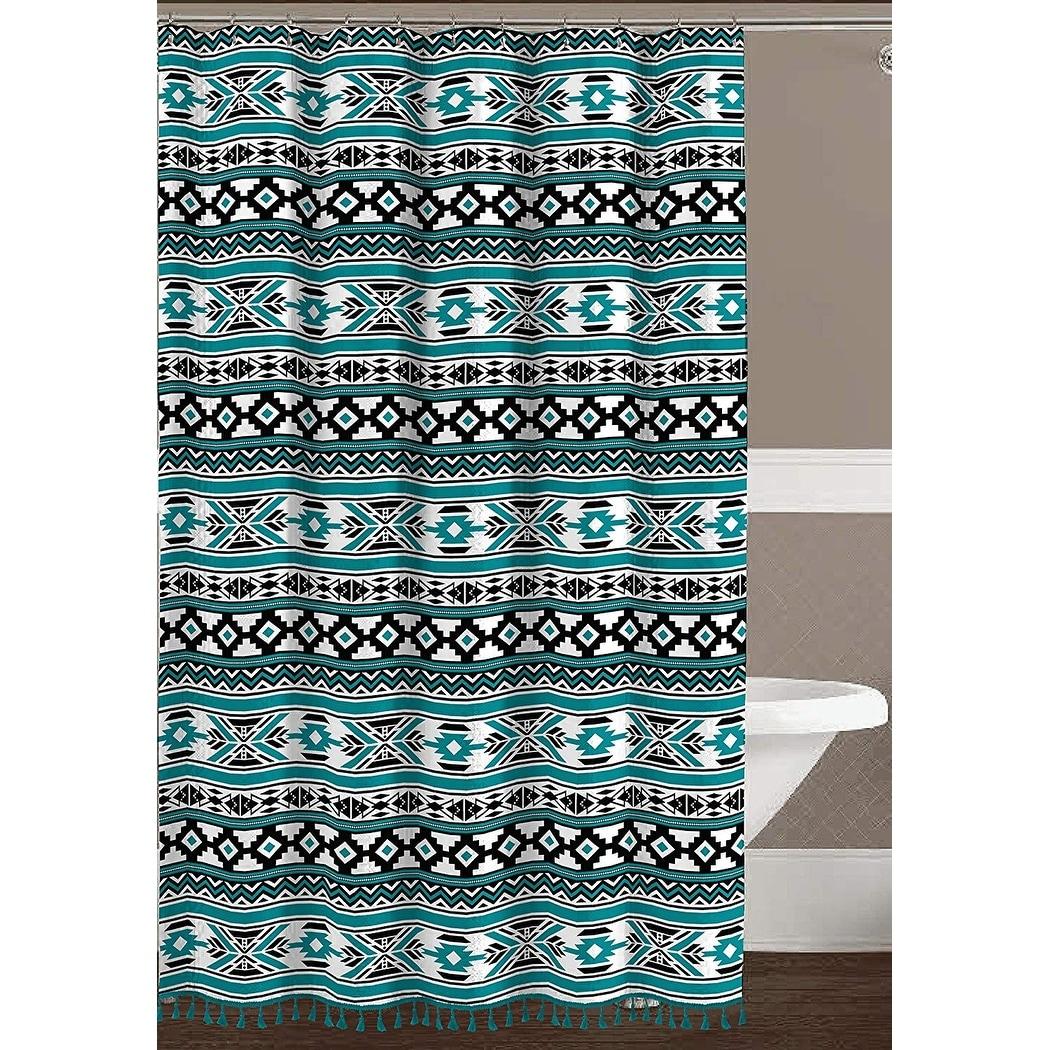 Shop Geometric Fabric Shower Curtain Teal Black White Tribal Design With Boho Fringe Overstock 22321943