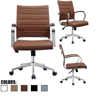 2xhome - Modern Designer Office Chairs Mid Back Ribbed PU Leather Boss Manager Conference Room Tilt Task Desk Work Wheels