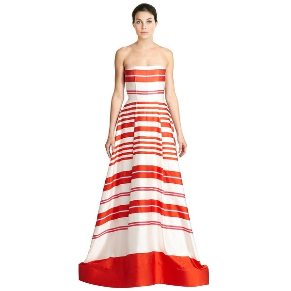 Shop Alice & Olivia Aubrey Strapless Stripe Pleated Evening Ball ...