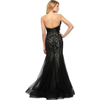 Mac Duggal Womens Lace Beaded Formal Dress
