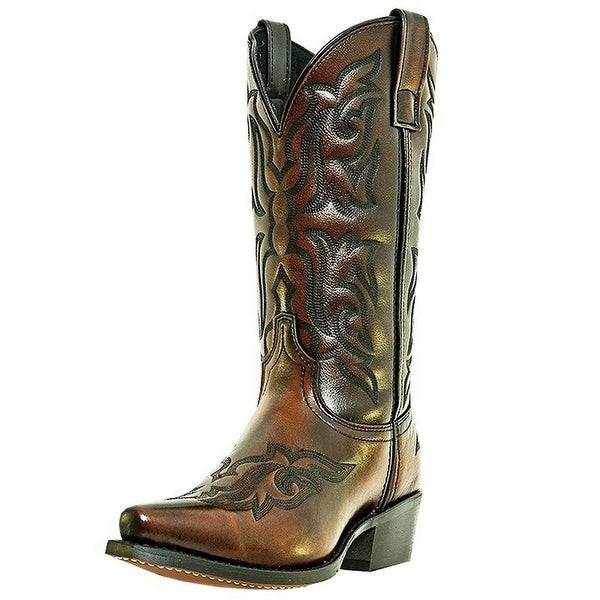 Laredo Western Boots Mens Hawk Cowboy Snip Toe Burnished Gold