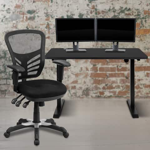 "48"" Wide Electric Adjustable Standing Desk & Ergonomic Office Chair"