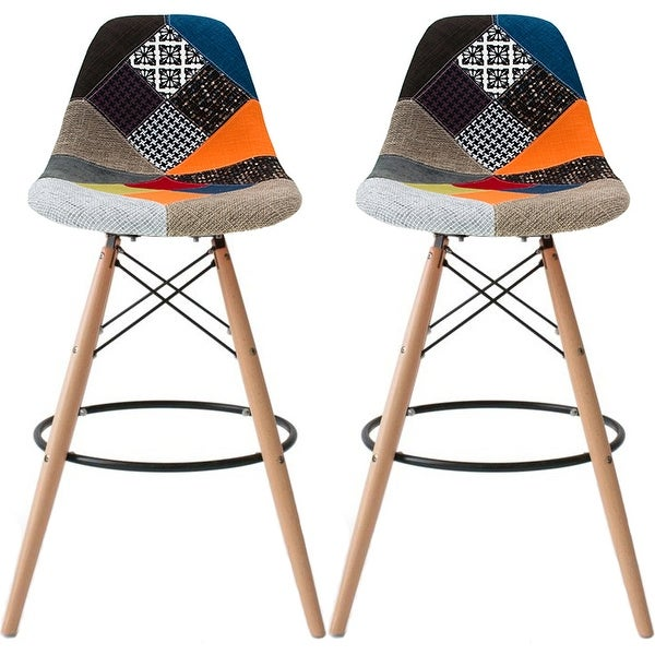 2xhome - 28-inch Plastic Chair DSW Patchwork Fabric Counter Stool Bar Stool (Set of 2)