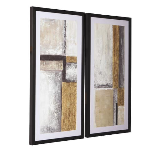 Wooden Frame Wall Art with Abstract Pattern, Set of 2, Multicolor