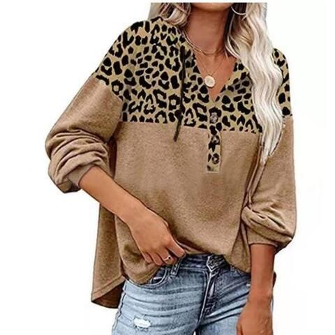 Leopard Print Long Sleeve Round Neck Sweatshirt