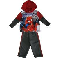 Marvel Little Boys Grey Red Spiderman Hooded Top 2 Pc Pant Set