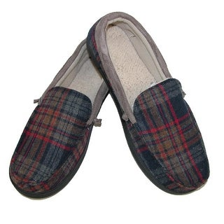 Isotoner Men's Mixed Material Dillan Moccasin Slippers - Red Plaid - xlarge