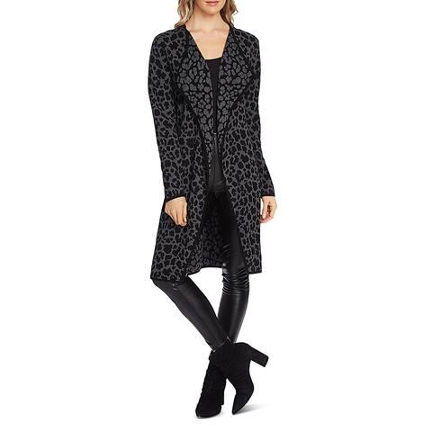 Vince Camuto Womens Cardigan Sweater Knit Cheetah Print - Medium Heather Grey