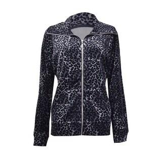 Style & Co. Women's Animal Print Velour Zip Jacket
