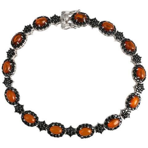 925 Sterling Silver Black Spinel,Baltic Amber Bracelet