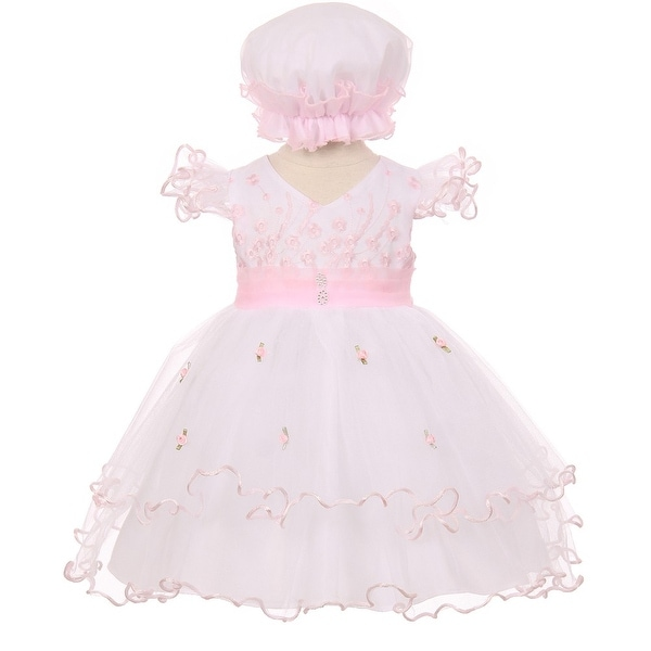 Baby Girls Pink Floral Embroidery Jewel Ruffle Bonnet Flower Girl Dress 3-24M