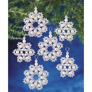 "Holiday Beaded Ornament Kit-Crystal & Pearl Snowflakes 2.5"" Makes 12"