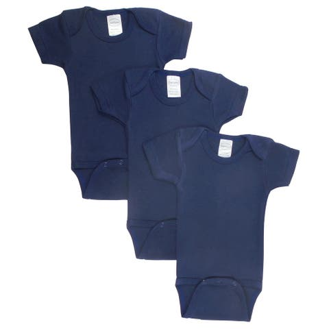 """Pack of 3 Navy Blue Small Interlock Short Sleeve Bodysuit Onesies for 6 to 12 Months, 6"""""""