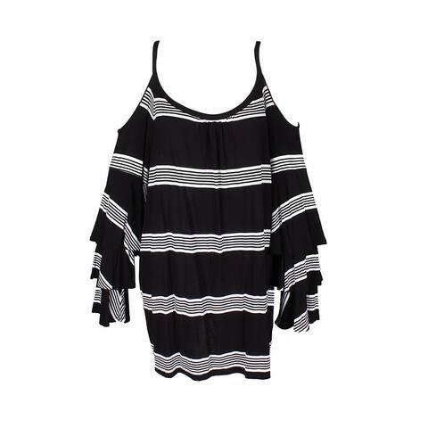 Inc International Concepts Plus Size Black White Striped Off-The-Shoulder Knit T 3X