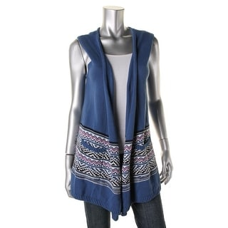 American Living Womens Fair Isle Open Front Sweater Vest
