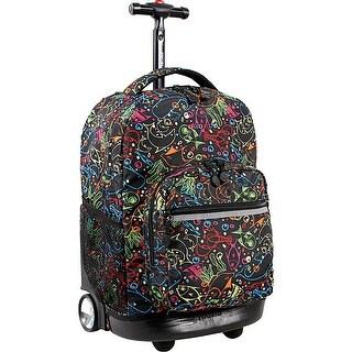 J World New York Sunrise 18 Inch Rolling Backpack, Doodle