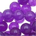Dark Magenta Candy Jade 6mm Round Beads (15.5 Inch Strand) - Thumbnail 0