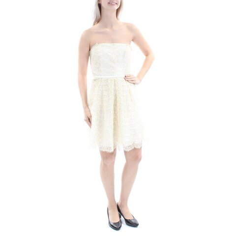 BCBGENERATION Womens Ivory Lace Sleeveless Off Shoulder Above The Knee Fit + Flare Party Dress Size: 4