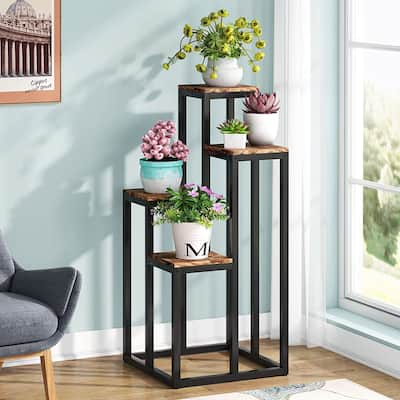 Tall Plant Stand Indoor, 4 Tier Plant Shelf Flower Stand 4 Potted Plant Holder Rack