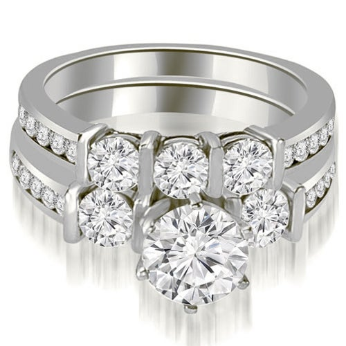 1.90 cttw. 14K White Gold Bar Set Round Cut Diamond Engagement Set - White H-I
