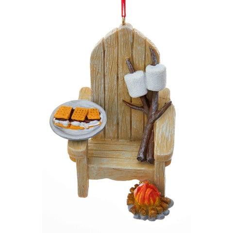 Adirondack Chair and Plate of Smores Christmas Holiday Ornament Resin