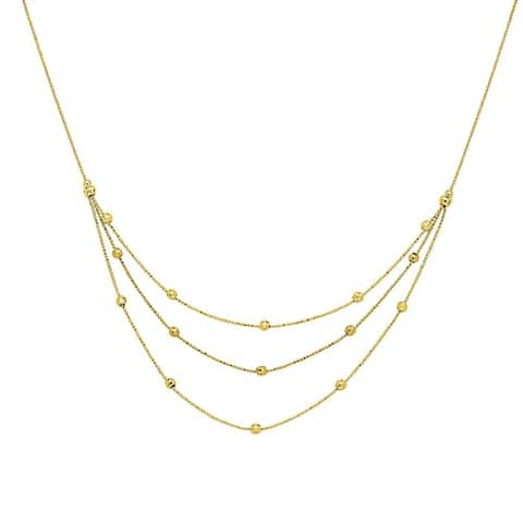 "Curata 14k Yellow Gold Triple Strand Sparkle Cut Bead Bib Necklace, 17"""