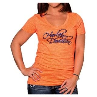 Harley-Davidson Women's Rider's Secret Foiled Short Sleeve Tee, Neon Orange