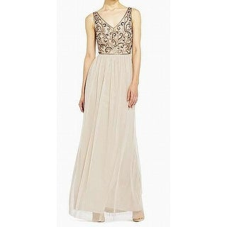 Adrianna Papell NEW Beige Womens 10 Beaded Front V-Neck Sheath Dress