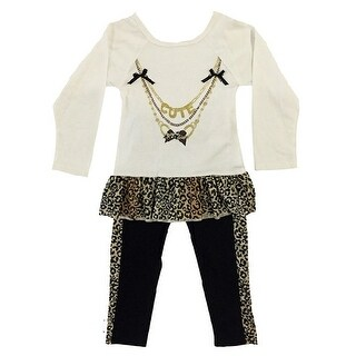 Ziggles Wiggles Little Girls Ivory Cute Necklace Long Sleeve 2 Pc Outfit 2-6X