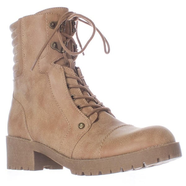 G by GUESS Meara Motorcycle Lace Up Lug Sole Booties, Dark Natural