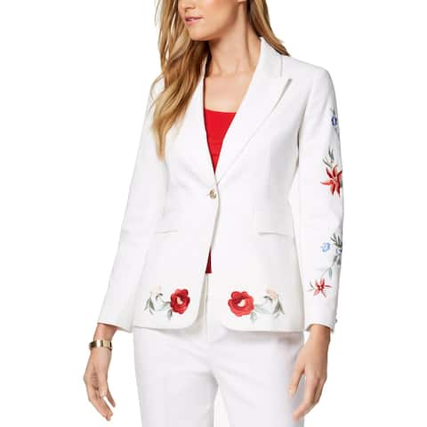 Nine West Womens Andalusia One-Button Blazer Embroidered Suit Separate