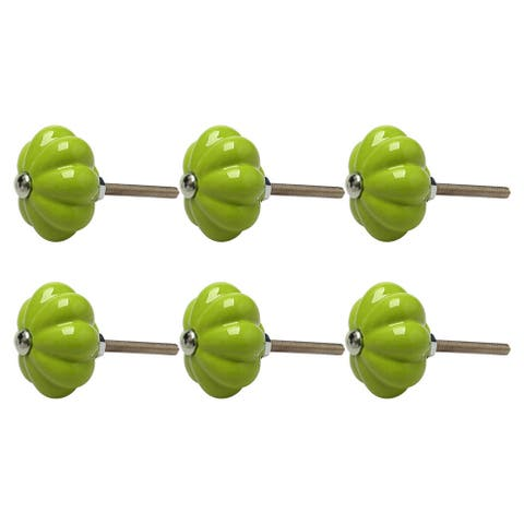6pcs Ceramic Knobs Drawer Pumpkin Shape Pull Handle Furniture Door Cabinet Cupboard Wardrobe Dresser Replacement Green
