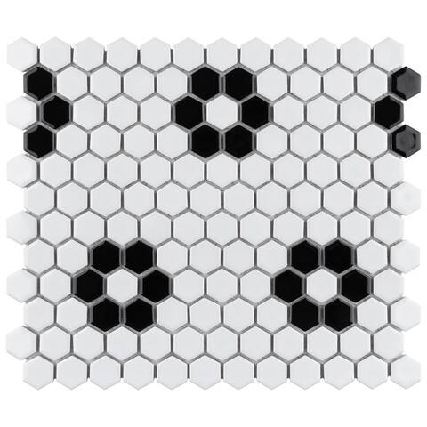 """SomerTile Metro Hex Glossy White with Heavy Flower 10.25""""x11.88"""" Porcelain Mosaic Floor and Wall Tile (10 tiles/8.65 sqft.)"""
