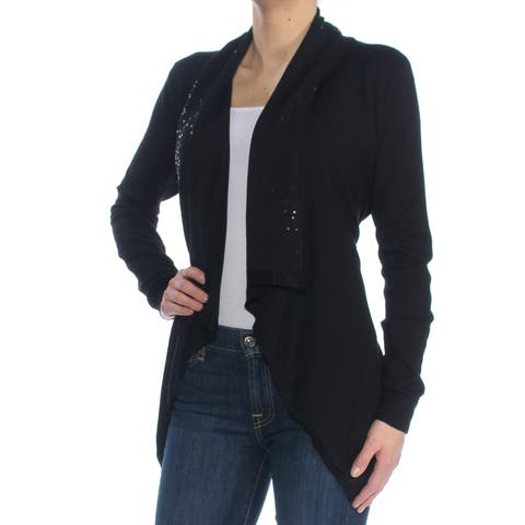 DKNY Womens Black Sequined Long Sleeve Open Cardigan Handkerchief Flare Wear To Work Top Size: XS