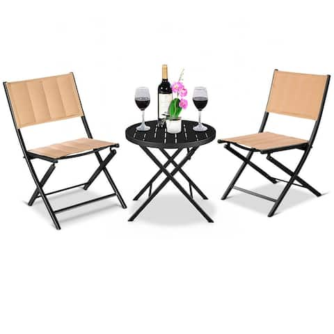 3PCS Patio Folding Table Chairs Furniture Set Bistro Garden Steel