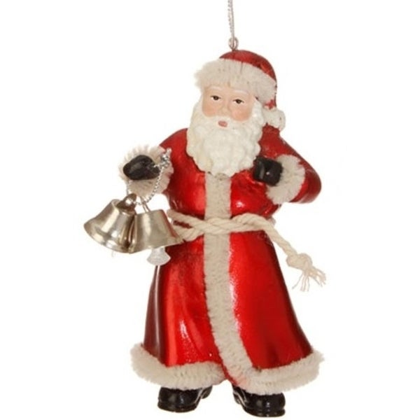 "4.25"" Old World Santa Claus with Bells Christmas Figure Ornament - RED"