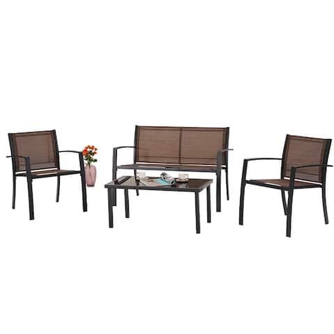 Outdoor Patio Furniture Set Textilene Bistro Set Modern Conversation Set