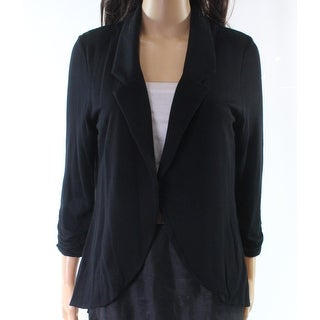 Moa Moa Black Split-Back Chiffon Women's Large L Open Front Jacket