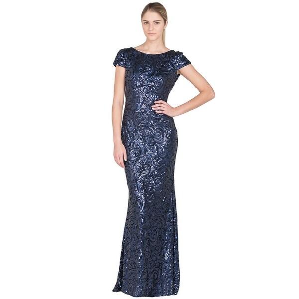 Badgley Mischka Sequin Cowl Back Evening Gown Dress