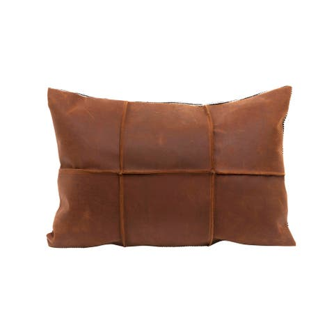 Brown Leather Pillow with Black & White Striped Felt Back